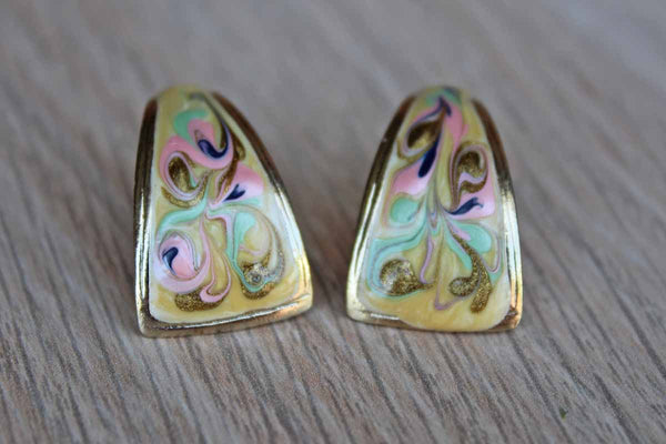 Gold Tone Colorfully Painted Enameled Pierced Earrings with Gently Curving Form