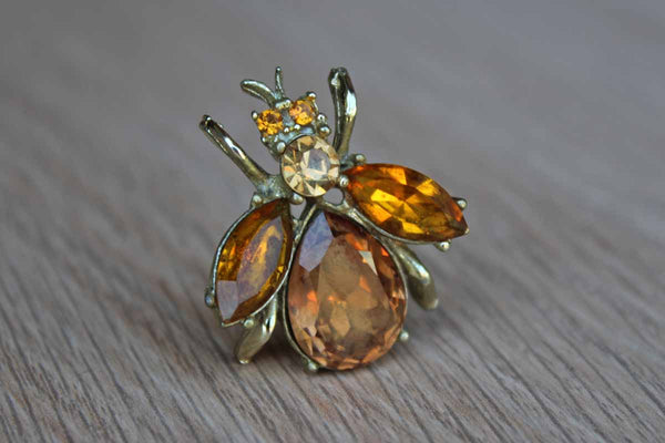 Bee Brooch Decorated with Amber Chatons and Rhinestones