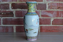 Famille Rose Chinese Porcelain Vase with Seascape and Mountain Scenes and Floral Borders