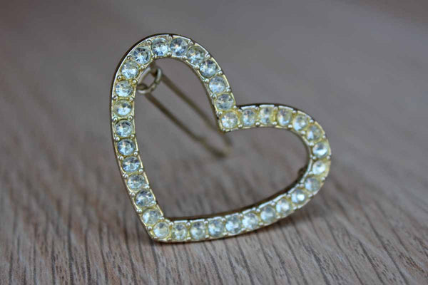 Silver Rhinestone Heart Shaped Hair Barrette