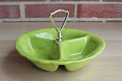 Lane & Company (Van Nuys, California, USA) Celadon Green Divided Candy or Snack Serving Dish