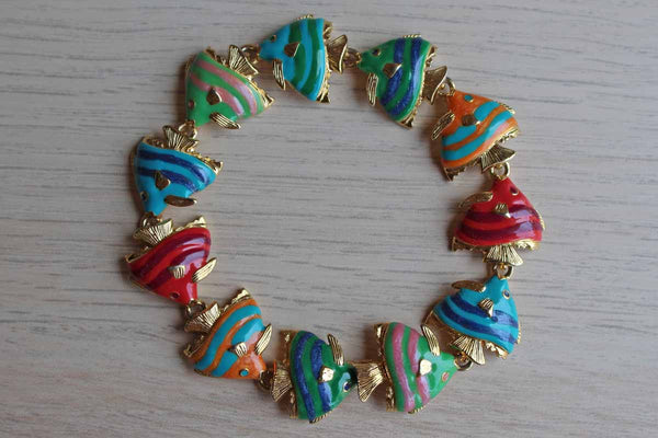 KLJ by Kenneth Jay Lane Enameled Tropical Fish Bracelet