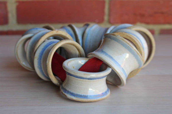 Handmade Stoneware Napkin Rings with Bands of Blue on Gray, 10 Rings