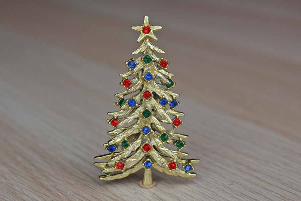 Gold Tone Christmas Tree Brooch with Red, Green, and Blue Rhinestone Accents