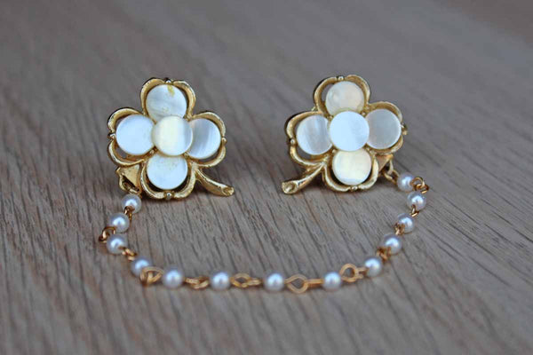 Clover Shaped Gold Tone and Mother of Pearl Sweater Clips with Faux Pearl Chain