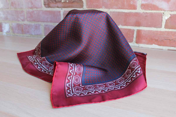 Handcrafted Incorporated (Italy) Maroon and Navy Blue Silk Neck Scarf Decorated with Floral Borders