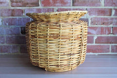 Hand Woven Round Basket with Flared Rim