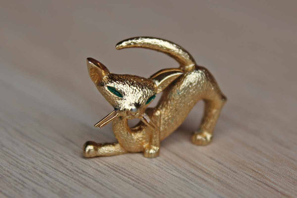 Little Gold Tone Cat-Shaped Lapel Pin