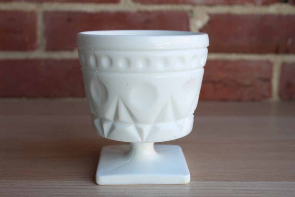 White Milk Glass Sugar Bowl with Dot and Diamond Pattern