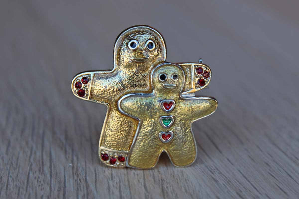 Sparkly Resin and Rhinestone Gingerbread Cookie Brooch