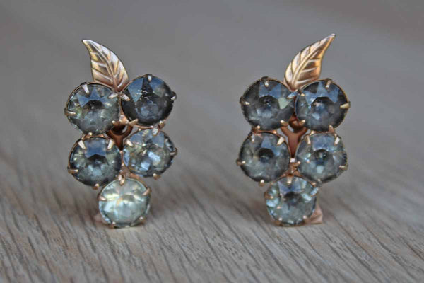 Gray-Blue Rhinestone Grape and Vine Clusters Screw Back Earrings
