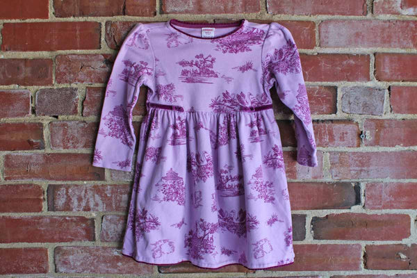 Gymboree (Made in Thailand) 2002 Purple Cotton Dress with Toile Decorations, Toddler Size 3