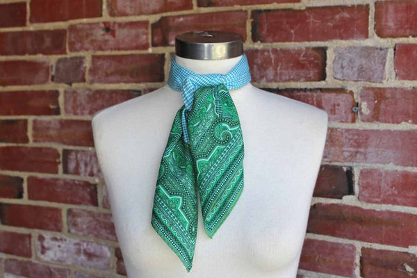 Glentex (Made in Japan) Blue Diamond and Green Paisley Scarf