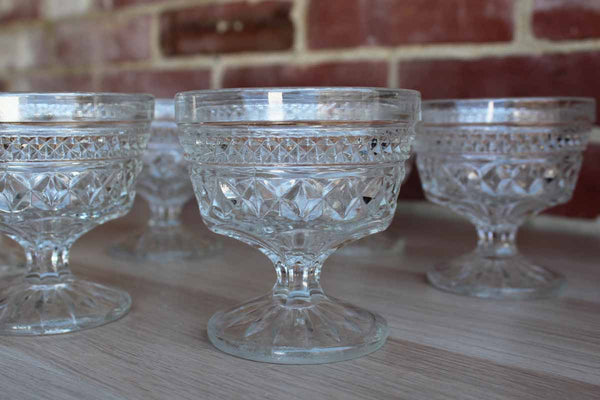 Anchor Hocking (Ohio, USA) Wexford Diamond Point Champagne or Dessert Glasses, Set of 6