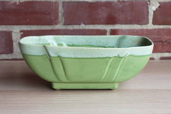 Celadon Green Rectangular Planter with Lighter Green Drip Glazed Rim