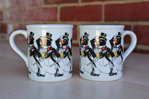 "Papel (Japan) Ceramic ""The Chorus Line"" Penguin Mugs, A Pair"