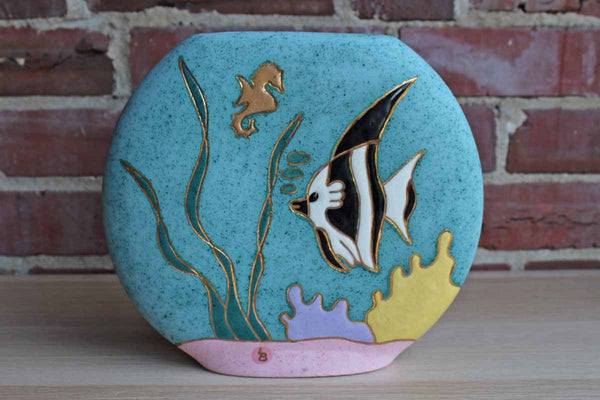 Ceramic Pillow Vase Decorated with Fish, Fauna, and Seahorse
