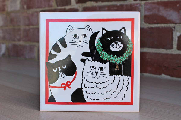 Ceramic Tile Featuring Four Cats with One Wearing a Green Holiday Wreath