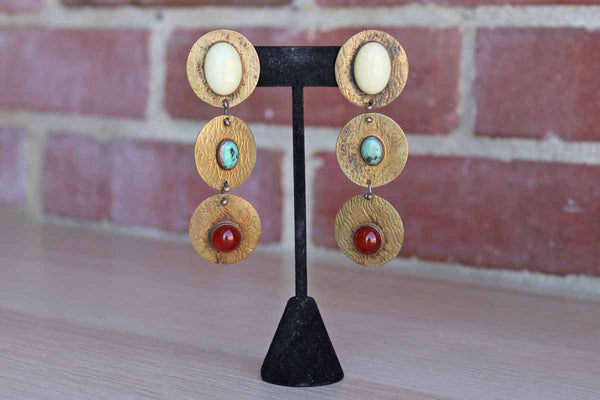 Brass Earrings Decorated with Inset Stones and Incised Wood Grain Design