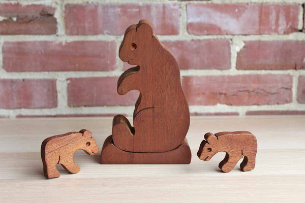 Primitive Carved Wood Bear Figurines