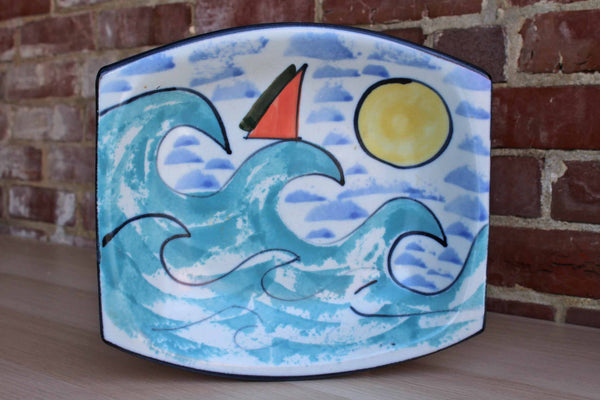Heavy Handmade Ceramic Dish Decorated with Waves and Sun