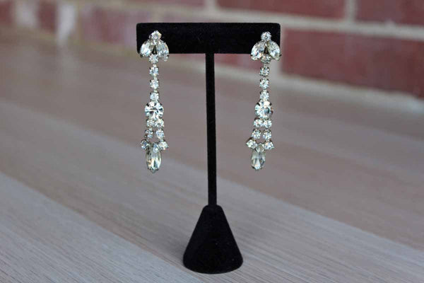 Albert Weiss Silver Rhinestone Screw-Back Drop Earrings