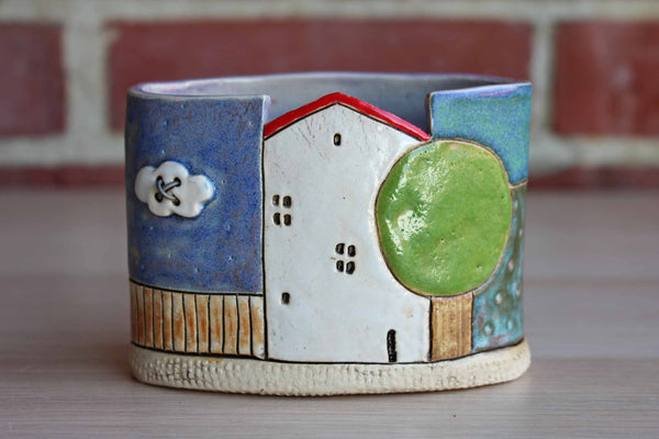 Small Ceramic Storage Container Decorated with House, Tree and Shapes