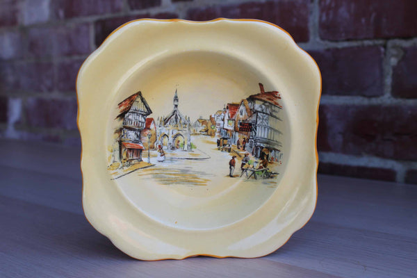 Lancaster & Sons Ltd. (England) Yellow Ceramic Bowl Decorated with English Village Scene