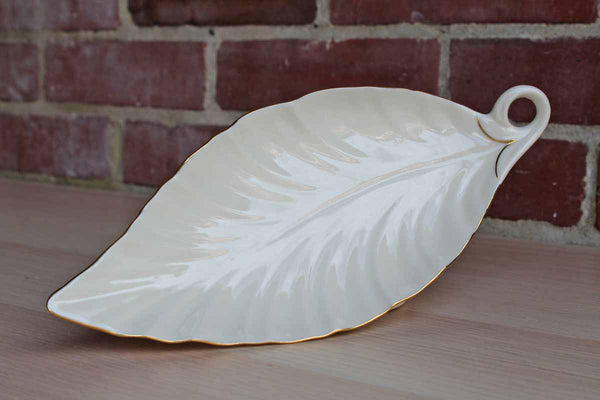 Lenox (USA) Ivory China Leaf-Shaped Dish with Gold Accents