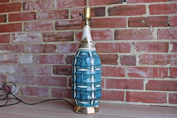 Ceramic Table Lamp with White Marquise Shapes on a Turquoise, White and Gold Base