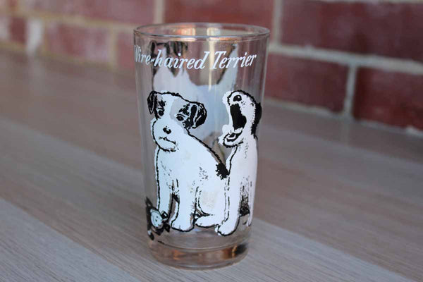 Drinking Glass Decorated with Wire-Haired Terriers