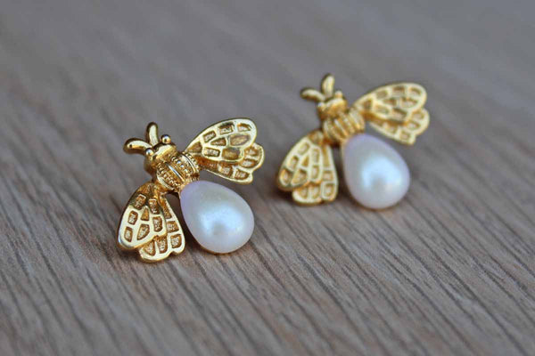 Gold Tone Bee with Imitation Pearl Pierced Earrings