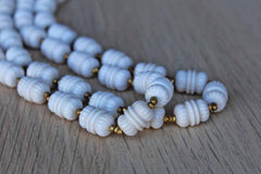 Miriam Haskell (New York, USA) White Plastic Beaded Necklace with Small Gold Bead Accents