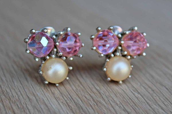 Faux Pearl and Pink Faceted Cabochons Non-Pierced Earrings
