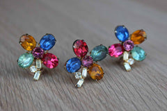 Colorful Cut Glass Cabochon Flower Shaped Non-Pierced Earrings and Brooch