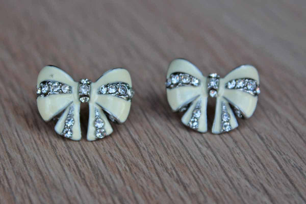 Enamel and Silver Rhinestone Bow-Shaped Pierced Earrings