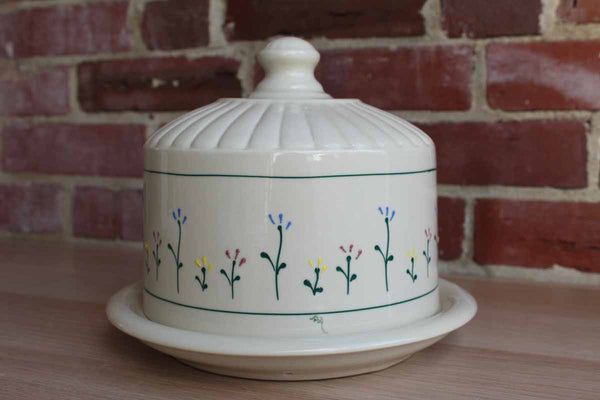 Hartstone Pottery (Ohio, USA) Heavy Ceramic Cheese Dome with Raised Flower Design
