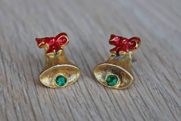 Gold Tone Christmas Bell Pierced Earrings with Painted Red Bow and Green Rhinestone