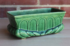 Green Ceramic Planter with Roped and Arched Design