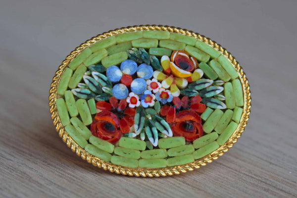 Colorful Floral Micro Mosaic Brooch