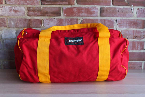 Large Red and Orange Nylon Duffle Bag, Made by Eastpak