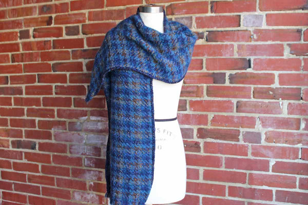 Long and Wide Blue and Tan Plaid 100% Wool Shawl