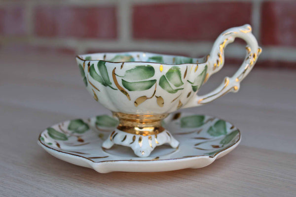 Stafford China (England) Green and Gold Floral Porcelain Cup with Saucer
