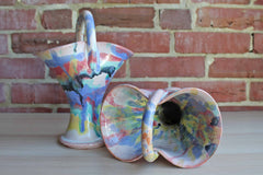 Colorful Stoneware Handled Basket Vases