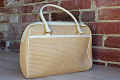 Etienne Aigner (New York, USA) Cream Leather and Straw Handbag