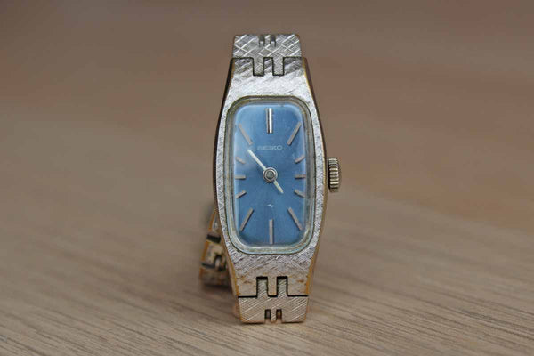 Seiko (Japan) Silver Tone Mechanical Wind-Up Watch with Blue Face
