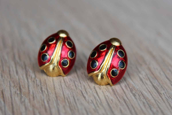 Avon Enameled Ladybug Pierced Earrings