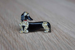 Black Enameled and Gold Tone Rhinestone Dachshund Brooch with Red Collar