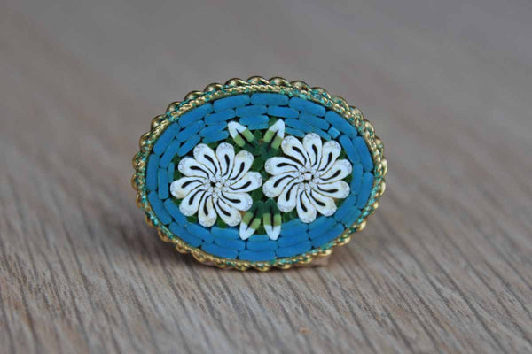 Blue, White, and Green Flower Micro Mosaic Brooch, Made in Italy