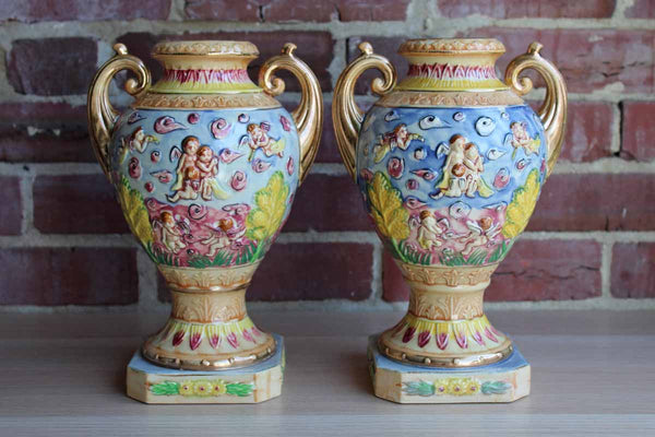 Hinode (Japan) Vibrantly Colored Urn Vases with Cherubs and Angels, A Pair